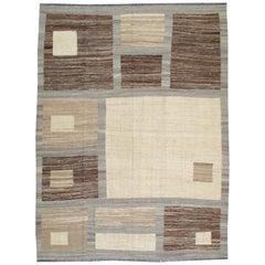 Modern Turkish Flat-Weave Carpet