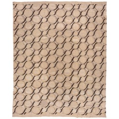 Modern Turkish Flat-Weave Carpet with Neutral Tones