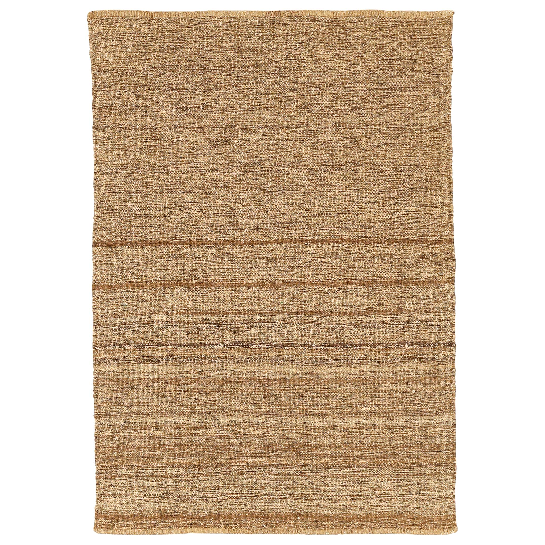 Modern Turkish Flat-Weave Kilim Rug with Brown Stripes on Beige Field