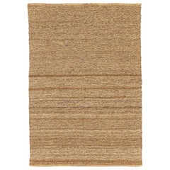 Modern Turkish Flat-Weave Kilim Rug with Brown Stripes on Beige Field