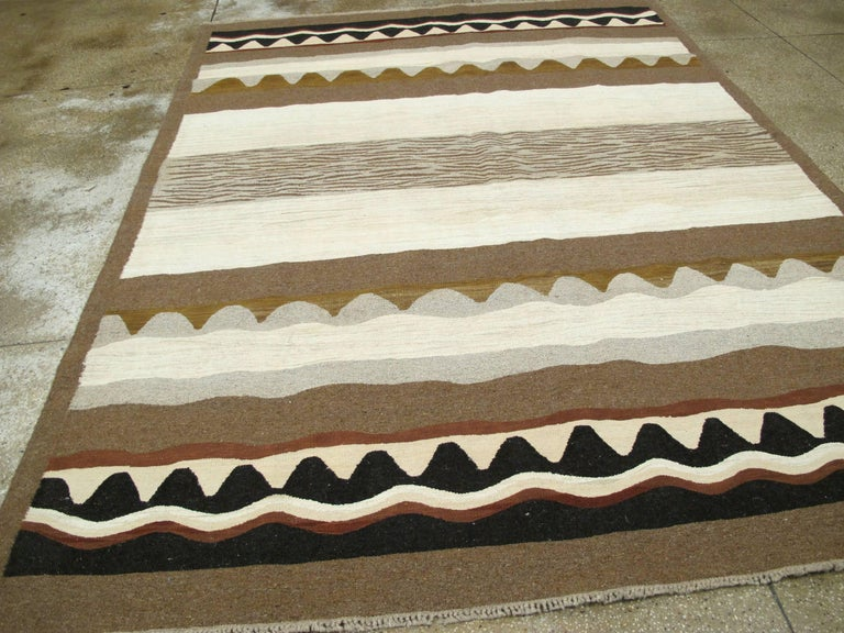 Contemporary Modern Turkish Flat-Weave Rug For Sale