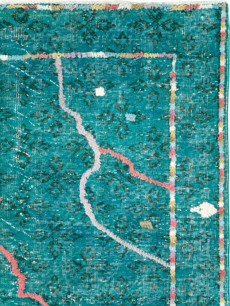 Modern Contemporary Handmade Turkish Folk Rug With A Distressed Appeal In Turquoise  For Sale