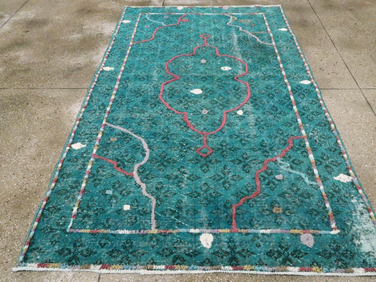 Hand-Knotted Contemporary Handmade Turkish Folk Rug With A Distressed Appeal In Turquoise  For Sale