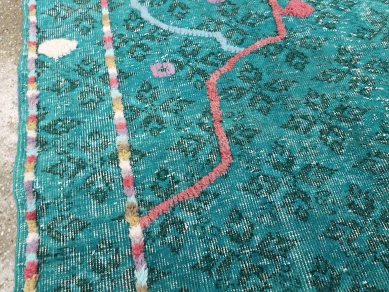 Wool Contemporary Handmade Turkish Folk Rug With A Distressed Appeal In Turquoise  For Sale
