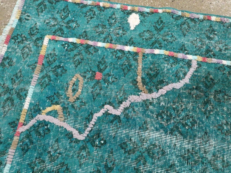 Contemporary Handmade Turkish Folk Rug With A Distressed Appeal In Turquoise  For Sale 1