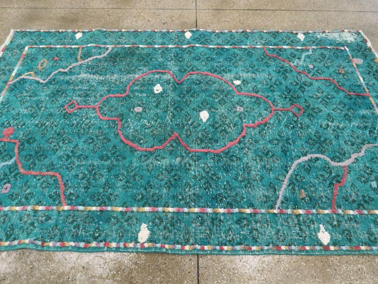 Contemporary Handmade Turkish Folk Rug With A Distressed Appeal In Turquoise  For Sale 2