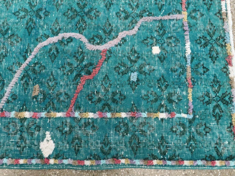 Contemporary Handmade Turkish Folk Rug With A Distressed Appeal In Turquoise  For Sale 3