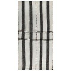Modern Turkish Kilim Rug with Black Stripes in a White Field