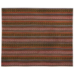 Modern Turkish Kilim Rug with Brown, Blue and White Tribal Stripes