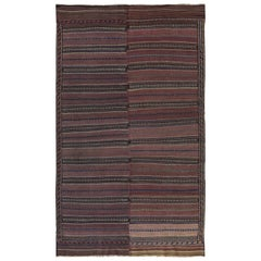 Modern Turkish Kilim Rug with Navy and White Tribal Details on Brown Field