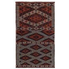 Modern Turkish Kilim Rug with Orange and White Tribal Diamonds