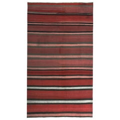 Modern Turkish Kilim Rug with Pink, Black and White Stripes in a Red Field