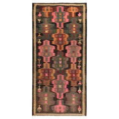 Modern Turkish Kilim Rug with Pink, Brown and Green Tribal Designs