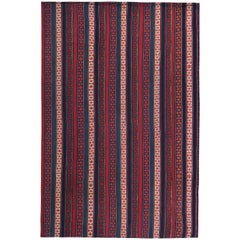 Modern Turkish Kilim Rug with Red and Blue Stripes with Tribal Design
