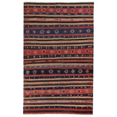 Modern Turkish Kilim Rug with Red and Navy Stripes Decorated with Tribal Details