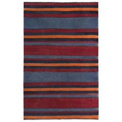 Modern Turkish Kilim Rug with Red and Orange Stripes in Navy Field