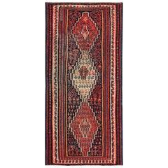 Modern Turkish Kilim Rug with Red, Blue and Orange Tribal Stripes