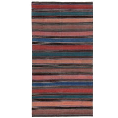 Modern Turkish Kilim Rug with Red, Blue and Beige Stripes