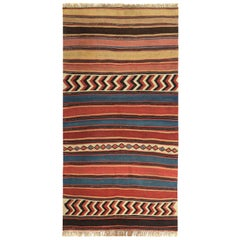 Modern Turkish Kilim Rug with Red and Blue Tribal Design on Beige Field