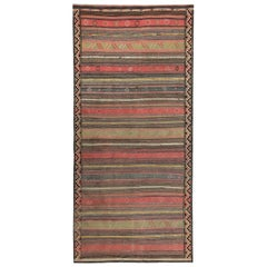 Modern Turkish Kilim Rug with Red, Green and Yellow Stripes