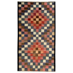 Modern Turkish Kilim Rug with Red, Pink and Blue Checkered Design
