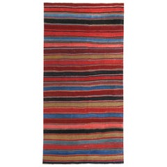 Modern Turkish Kilim Rug with Red, Pink and Blue Stripes