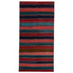 Modern Turkish Kilim Rug with Red, Pink and Blue Stripes Pattern