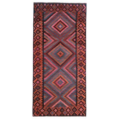 Modern Turkish Kilim Rug with Red, Pink and Blue Tribal Pattern