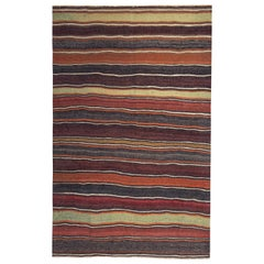 Modern Turkish Kilim Rug with Red, Yellow and Orange Stripes on a Brown Field