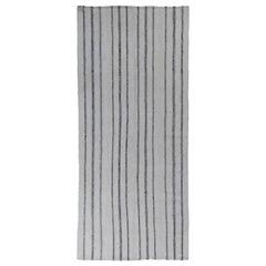 Modern Turkish Kilim Runner Rug with Black Pencil Stripes on White Field