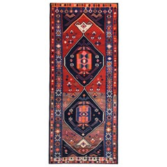 Modern Turkish Kilim Runner Rug with Blue, Red and Pink Tribal Design