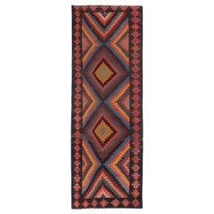 Modern Turkish Kilim Runner Rug with Colored Diamond Details