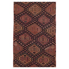 Modern Turkish Kilim Runner Rug with Orange and Pink Tribal Medallions