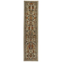 Modern Turkish Kilim Runner Rug with Red and Green Floral Pattern in Beige Field