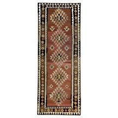 Modern Turkish Kilim Runner Rug with White, Brown and Beige Tribal Pattern