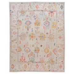 Modern Turkish Oushak Floral Colorful Handmade Wool Rug