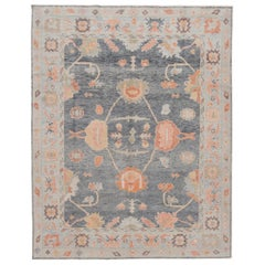 Modern Turkish Oushak Handmade Wool Rug