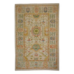 Modern Turkish Oushak Rug with Bright Flower Patterns on Ivory Field