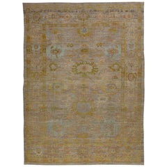 Modern Turkish Oushak Rug with Dense Flower Details All-Over Field
