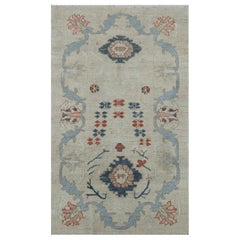 Modern Turkish Oushak Rug with Flower Details in Red and Navy on Ivory Field