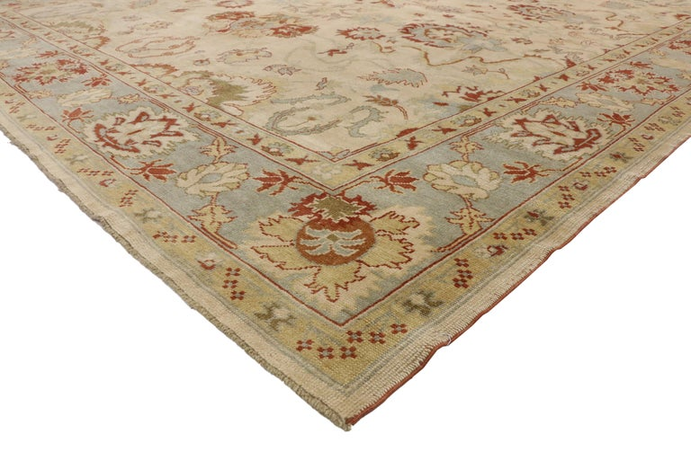 Modern Turkish Oushak Rug with Transitional Style, Square Rug For Sale 4