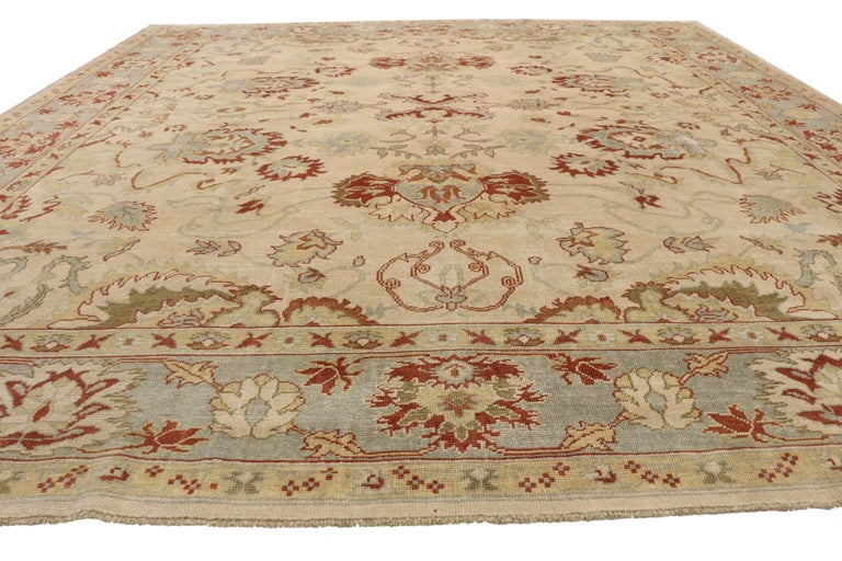 Modern Turkish Oushak Rug with Transitional Style, Square Rug For Sale 5