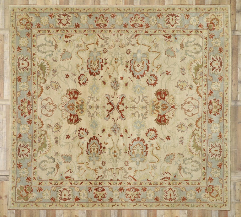 Modern Turkish Oushak Rug with Transitional Style, Square Rug For Sale 6