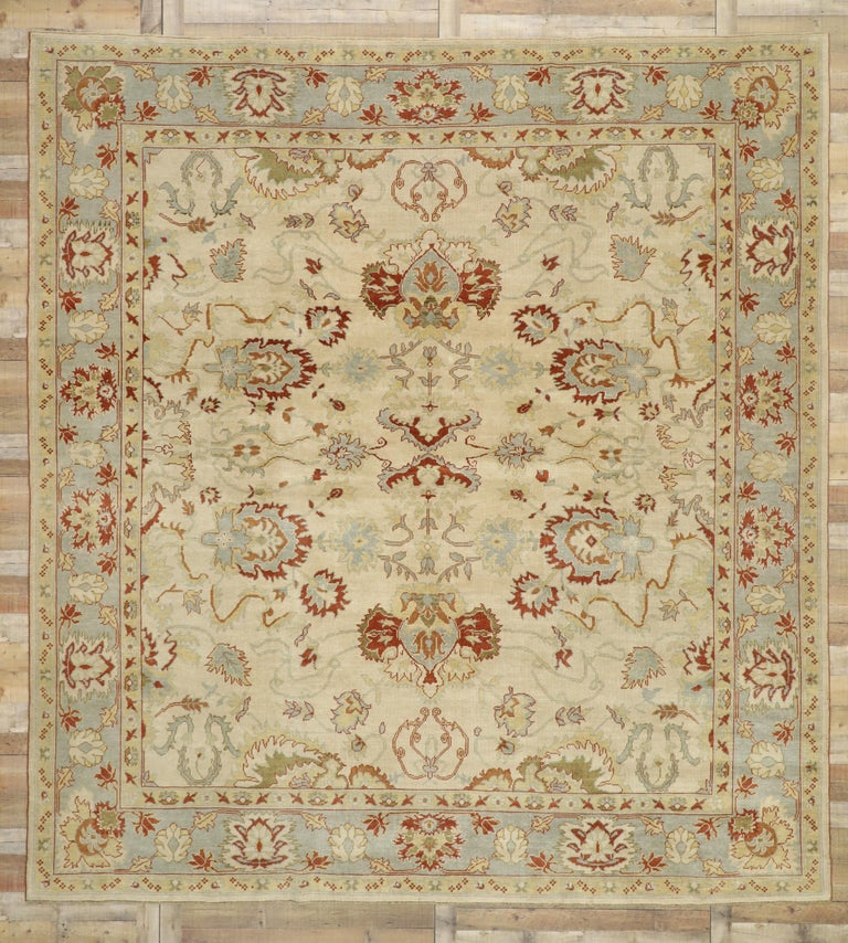 Contemporary Modern Turkish Oushak Rug with Transitional Style, Square Rug For Sale