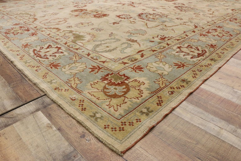 Wool Modern Turkish Oushak Rug with Transitional Style, Square Rug For Sale