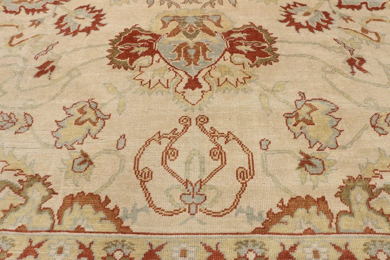 Modern Turkish Oushak Rug with Transitional Style, Square Rug For Sale 1