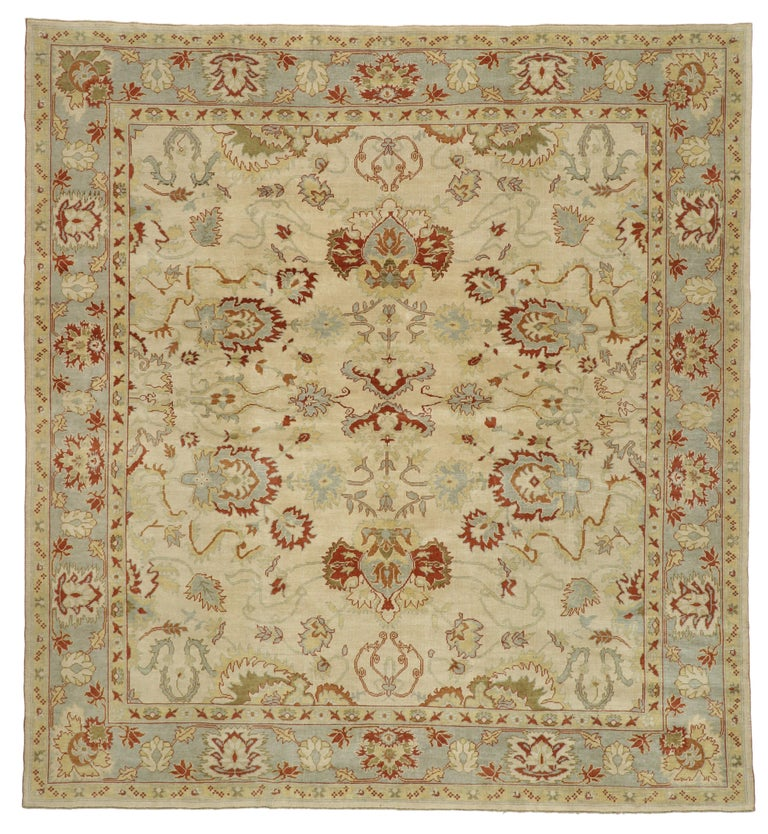 Modern Turkish Oushak Rug with Transitional Style, Square Rug For Sale 3