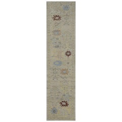 Modern Turkish Oushak Runner Rug in Ivory with Yellow and Blue Flowers Design