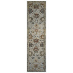 Modern Turkish Oushak Runner Rug with Beige and Gray Floral Patterns