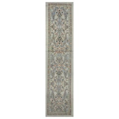 Modern Turkish Oushak Runner Rug with Blue Floral Details on Ivory Field